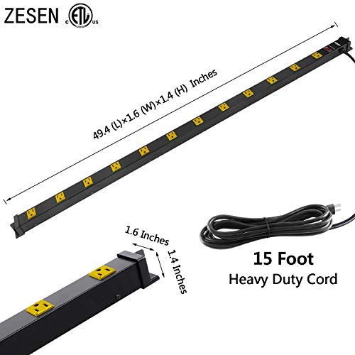 ZESEN 12 Outlet Heavy Duty Workshop Metal Power Strip Surge Protector with 15ft Heavy Duty Cord, ETL Certified, Black 3