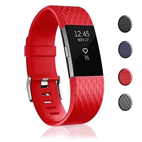 Bandas de Repuesto compatibles con Fitbit Charge 2, Accesorios de muñeca para Pulseras Deportivas para Mujeres y Hombres, Color Rojo