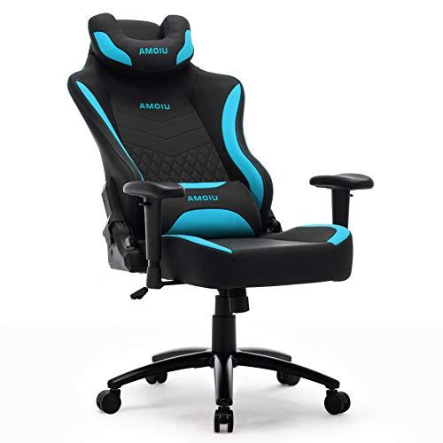 Amoiu Gamer Racing Stuhl, Ergonomischer Gaming Stuhl, Bürostuhl mit U Kopfkissen, Schreibtisch Stuhl mit Hoher Rückenlehne (Blau)