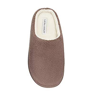 Laura Ashley Ladies Terry Cushioned Round Toe Clog Memory Foam Insole Slippers (See More Colors and Sizes)