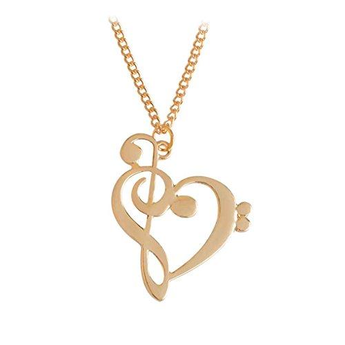 unknow Women Love Music Notes Anhänger Kettenhalsketten Herz-geformte Kette Halskette weibliches Herz-geformtes Hohl Claviclehalskette Gold