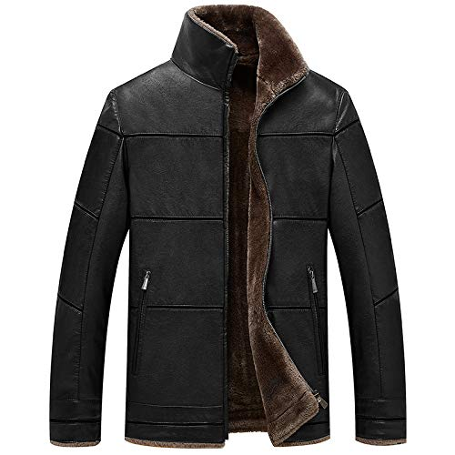 Buy and buy at Brandon Autumn and Winter Men's Leather One Casual Leather Jacket Men's Color Leather Jacket Plus Velvet Warm Leather Jacketblack170/M