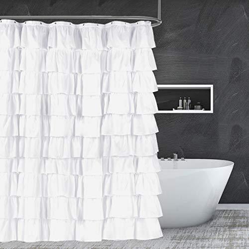 Ashleyriver Duschvorhang, Rüschen, 182,9 x 182,9 cm weiß