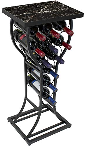Sorbus Marble Wine Rack Console Table - Freestanding Wine Storage Organizer Display Rack for Small Spaces, Holds 11 Bottles, Metal with Faux Marble Finish (Marble Wine Rack - Black)