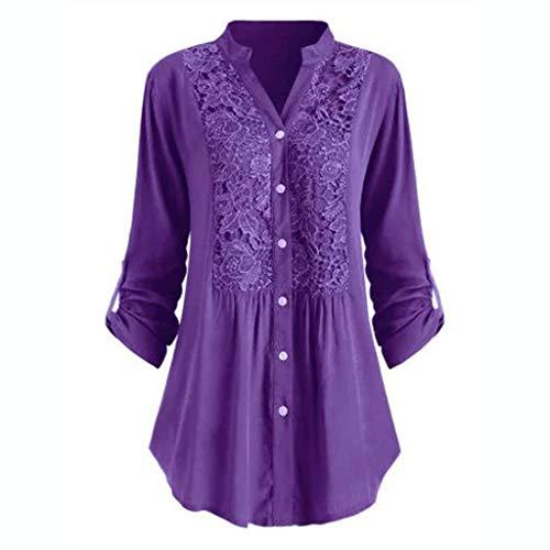 GATIK Damen Long Loose Shirt Button Applique Cardigan Lässige Bluse in Übergröße Plissee-Pullover in Übergröße(2XL,Violett)