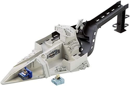 Hot Wheels FJF10 Star Wars Sternenzerstörer Rennstarter, Auto Spielset mit Moloch und Han Solo Battle-Roller Figuren, ab 6 Jahren