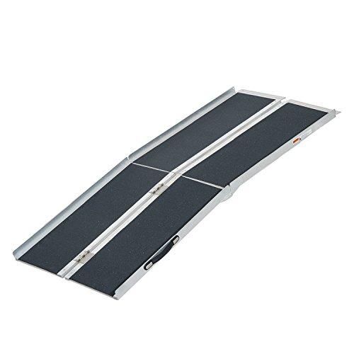 HOMCOM Aluminum Portable Skidproof PVC Carpeted Folding Wheelchair Ramp, 6'