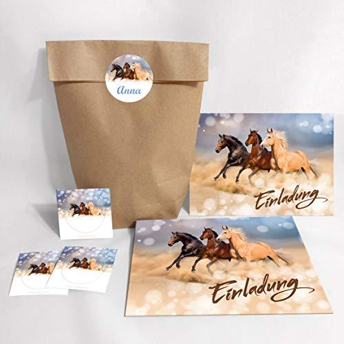 JuNa-Experten 12-er Set Einladungskarten, Umschläge, Tüten/Natur, Aufkleber Geburtstag Kinder Mädchen DREI Pferde / Pferd / Einladung Kindergeburtstag / Geburtstagseinladung / Tiere