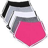URATOT 5 Pack Women's Cotton Yoga Dance Short Pants Sport Shorts Summer Athletic Cycling Hiking Sports Shorts