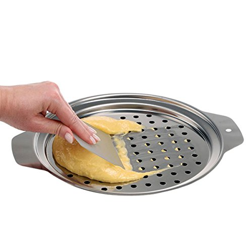 Hicook Stainless Steel Spaetzle Maker Lid with Scraper Traditional German Egg Noodle Maker Pan Pot Spaghetti Strainer