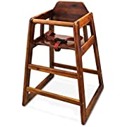 Winco CHH-104 Unassembled Wooden High Chair, Walnut