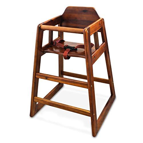 Winco CHH-104 Baby Hochstuhl mit Gurt - Stabile Standfüße, aus Massivem Walnuss Holz