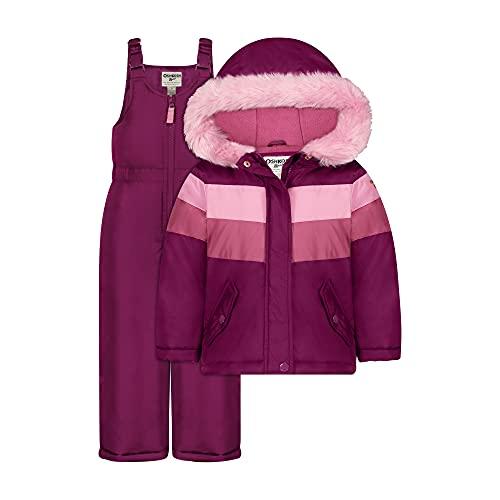 Osh Kosh Girls' Big Ski Jacket and Snowbib Snowsuit Outfit Set, Burgundy/Pink, 7
