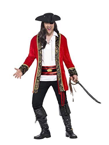"""Smiffys-24464L Disfraz de capitana Pirata con Curvas, con Chaqueta, Camisa y fajín, Color Rojo, L-Tamaño 42""""-44"""" (Smiffy"""