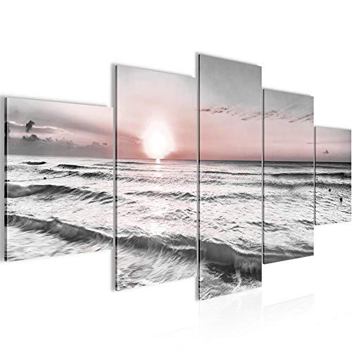 Sonnenuntergang Strand Bild Vlies Leinwandbild 5 Teilig Landschaft Grau Rosa Schlafzimmer Flur 023753b