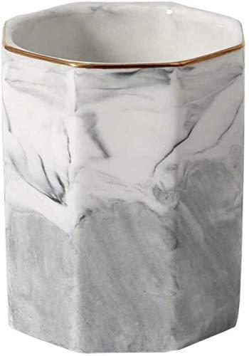 DSJ Soporte de cerámica para bolígrafos de escritorio, multifuncional, organizador de lápices, recipiente de papelería, maquillaje y brocha de decoración