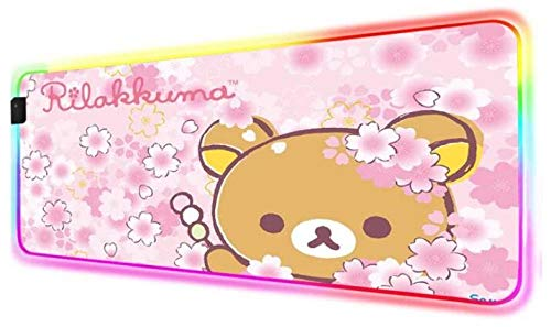 Mouse Pads Sakura Flower Bear Pink RGB Mouse Pad Anime LED Gamer Game Accessories PC Laptop Pink Pad Bear 24x12x0.15 inch