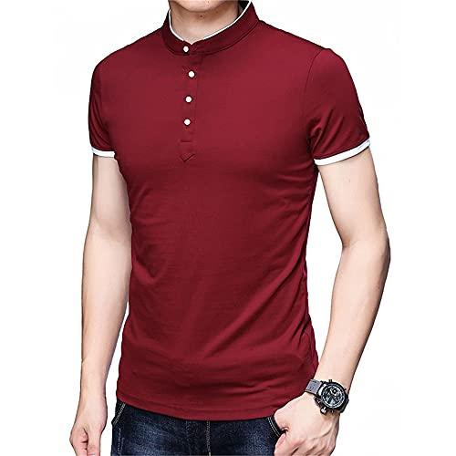 Hombres Manga Corta Verano Botones Sueltos Elasticidad Camisas Ocio Deporte Casual Cómodo Cuello Alto Camisa Deportiva Masculina Camisa Henley Urbana Hombres B-Red S
