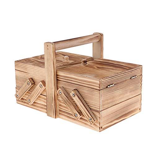 Hellery Organizador de Caja de Costura en Voladizo de Madera, Agujas, Hilo, Tijeras, Caja de Almacenamiento para Manualidades, Joyero