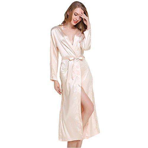 Casa Albornoz Mujer Largos Kimono Batas Baño, Kimono Bata de Satén Kimono Del Cordón Bata de baño con escote de seda Ropa de dormir Dama de honor de la novia