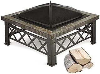 blumfeldt Merano Feuerschale Grillrost Kachel-Design Stahl 75x75 cm geschwärzt