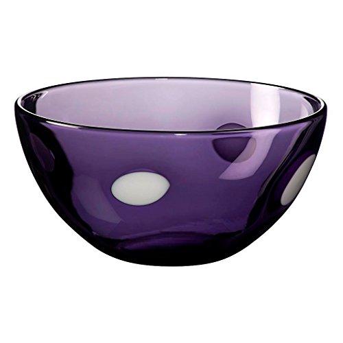 CRISTALICA Ciotola di vetro Ciotola di frutta Insalatiera Ideale per cene Collezione Colori - Quattro punti 12,5 cm Viola/Bianco