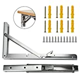 Folding Shelf Brackets 2 PCS 12Inch Heavy Duty Stainless Steel Collapsible Wall Mounted Shelf for Table Work Bench DIY Bracket Space Saving Max Load 500 lb with Install Screws (12 Inch)