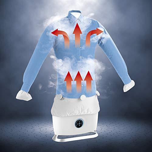CLEANmaxx Automatischer Hemdenbügler mit Dampffunktion inkl. Hosenaufsatz | Bügler für Hemden/Blusen u. Hosen, Bügelautomat | Touchscreen [Hochwertiger Kunststoff, weiß]