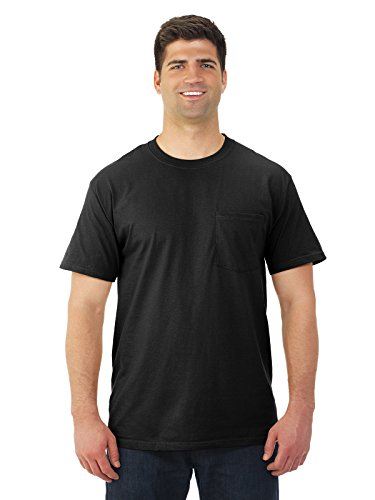 Fruit of the Loom Mens 5 oz. Heavy Cotton HD Pocket T-Shirt (3931P) -Black -M