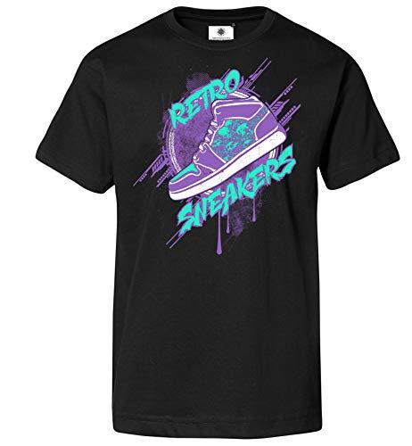 Customized by S.O.S Herren T-Shirt Retro Sneakers (S, Schwarz)