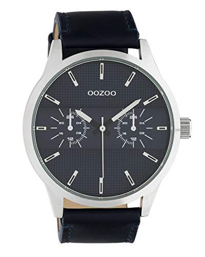 Oozoo herenhorloge chrono look met lederen band 48 MM zilverkleurig/blauw C10536