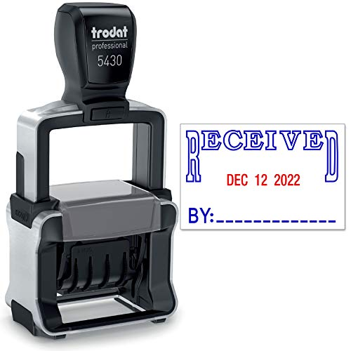 Trodat 5430 Professional Self-Inking Date Stamp with Received - Blue/Red 2 Color Ink