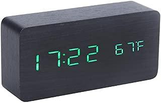 Lariy Digital LED Wood Wooden Desk Alarm Clock Timer Thermometer Snooze Voice Control Black