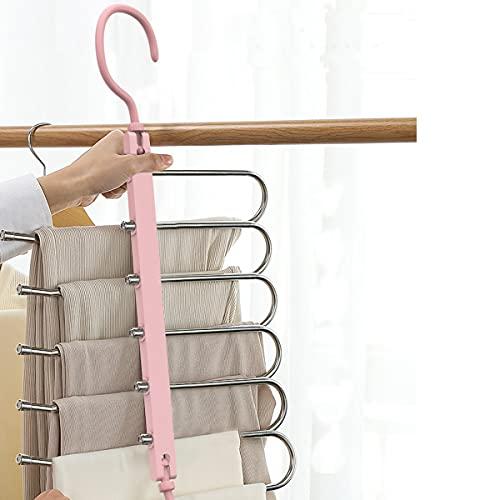 Perchas para Pantalones, Perchas de Armario de Ahorro de Espacio 6 Capas 2 Usos Multi Funcional Percha para Pantalones Pechero Organizador de Armario para Pantalones Bufandas Corbatas