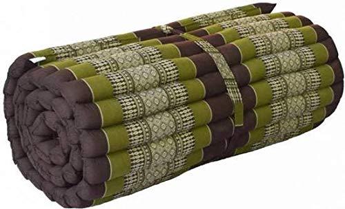 Fine Asianliving Rollbare Thai Sitzmatte 80x200cm aus Kapok Yoga Meditation Thaikissen Grün Meditation Matte Matratze Boden-Liege-Matte Sitzkissen 301-D02