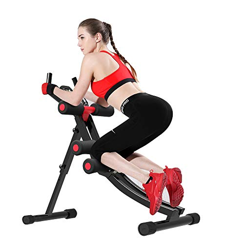 Fitlaya Fitness Core & Abdominal Trainers AB Workout Machine Home Gym Strength Training Ab Cruncher Foldable Fitness Equipment (red01)