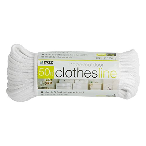 Smart Design All Purpose Weather Resistant Clothesline Cord - Cotton Cloth Braided Rope - Ourdoor Hanging, Drying, Clothing, & Linens - Home...