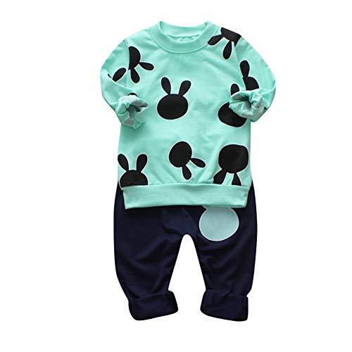 Ensemble Bébé Binggong Bébé Ensemble Pyjama Pull Bébé Garçon Fille Enfants Pull-Over T-Shirt à Manches Longues + Pantalons + Bonnet Noël (110(2-3T), Vert)