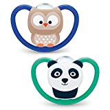Nuk Ciuccio Space | 18-36 mesi | Succhietti con extra ventilazione | Silicone senza BPA | Gufo e Panda | 2 pezzi - 60 g