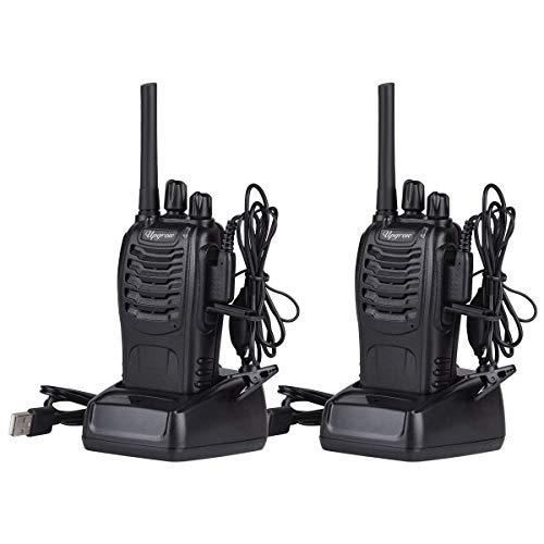 Upgrow Walkie Talkie 2 x Funkgerät Set PMR446 Wiederaufladbarer Walkie Talkie mit Headset, 16 Kanäle Sprechfunkgerät mit LED-Taschenlampe für Abenteuer Radfahren Wandern