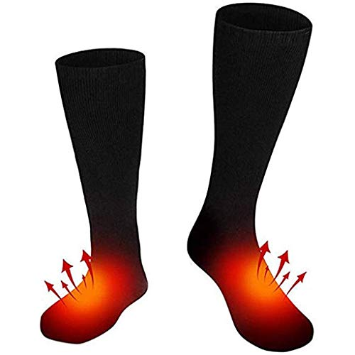 ErYao Heated Socks, Electric Heating Socks for Men Women, Winter Battery-Powered Warm Socks Camping/Fishing/Cycling/Motorcycling/Skiing (Black)
