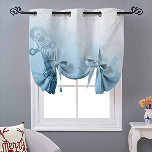 Aishare Store Window Valance Monochrome Anchor Illustration Deep Down in The Sea Bottom Be Strong and Stable W46 x L45 Light Block Blackout Curtain for Bathroom Windows Pale Blue (1)