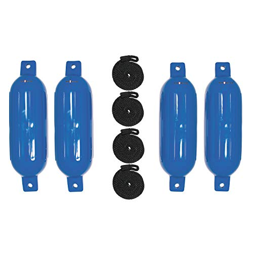 """Extreme Max Blue Standard 3006.7495 BoatTector Inflatable Fender Value 4-Pack-6.5"""" x 22"""""""