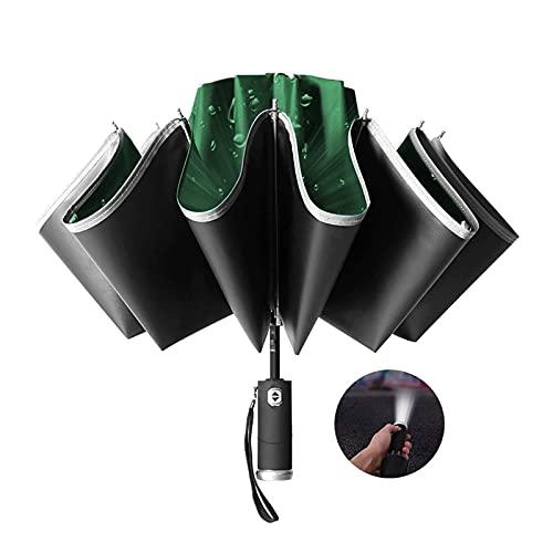 FCWMD Paraguas Plegable de Viaje, Paraguas Plegable automático Doble a Prueba de Viento, Paraguas inverso automático, con luz Nocturna LED de Rayas Reflectantes, Paraguas Transparente de Doble Uso