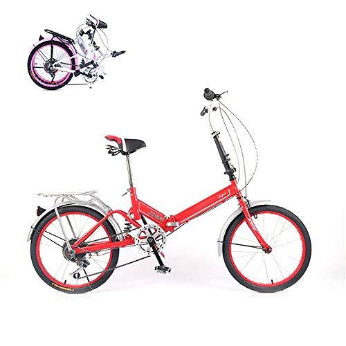 Falt-Fahrrad, Faltbares Sport Klapprad,ultraleichte tragbare Folding Bike, Klappfahrrad, Quick-Fold-System, 20 Zoll 6 Verschiebung Freizeit Fahrrad
