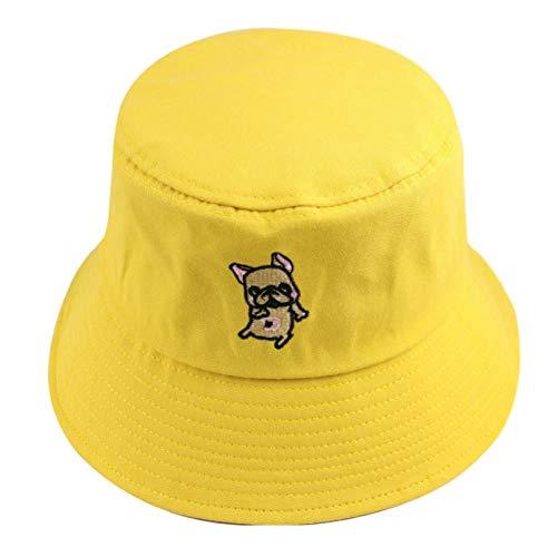 QIANWEIXI Fischerhut Mode Sommer Niedlich Schwarz Gelb Rosa Grün Einfarbig Bulldog Tierstickerei Eimer Hüte Frauen Kappen-Gelb
