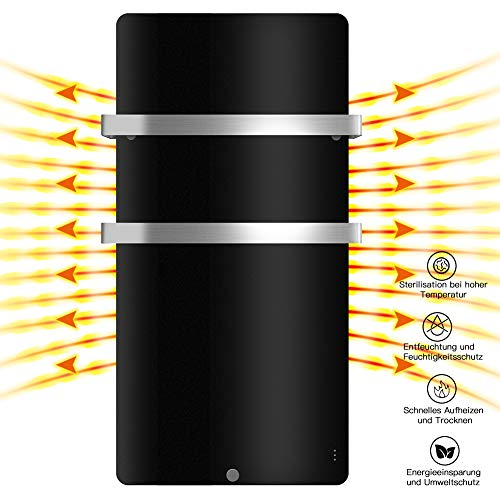 MICRO ENERGY SOLUTIONS Handtuch Heizkörper Bad Handtuchwärmer Elektrisch 480 x 840 mm Handtuchtrockner Badheizkörper 400W,Handtuchhalter-Funktion Schwarz MEHRWEG