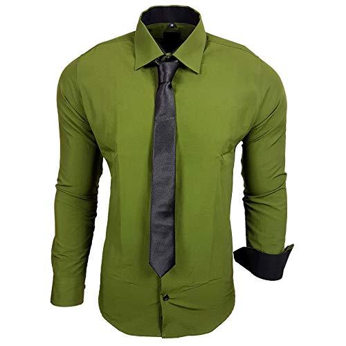 Baxboy 444-BK Herren Kontrast Hemd Business Hemden mit Krawatte Hochzeit Freizeit Fit, Farbe:Khaki, Größe:L