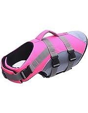 N / A Chaleco salvavidas para perros Float Coat para deportes acuáticos, chaleco salvavidas con mango de rescate, color rosa, L