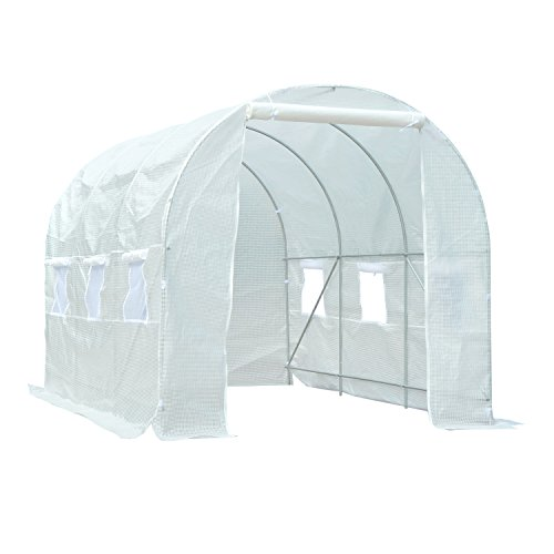 Outsunny 3.5 x 2 x 2 m Large Galvanized Steel Frame Outdoor Poly Tunnel Garden Walk-In Patio Greenhouse - White